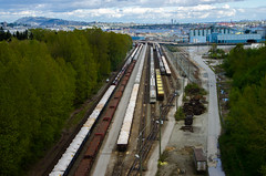 Supplying (Federico Casares) Tags: train trees city canada vancouver britishcolumbia railroadtrack colors
