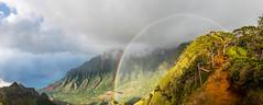 Hawaii (blue5011b) Tags: hawaii kauai napali coast hike travel adventure mountains rainbow color clouds beauty airplanetrail kalalau pano panoramic