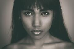 Anoeradha (Erik de Klerck) Tags: face portrait girl woman headshot long hair longhair eyes lips blackandwhite sepia black white closeup strobist studio indian india strong stronglook monochrome nikon d800 85mm 18g