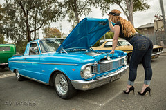 Roadside Assist (evvvvan) Tags: 4vmages promogirl girl model pinup cute portrait melbourne australia carshow rockabilly tamronsp2470mmf28divcusdg2 kingpinkuztums beautiful ratstattsnpinups stamfordhotel strawberryblonde brookemorganmodelling jeans denim kustomville rearend ass highheels ford falcon xp ute utility aussie pinupgirl stunning hot beauty gorgeous v8 injected 302 50
