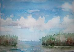 Finnish lakes (sushipulla) Tags: landscape paint painting artwork finland watercolours watercolors