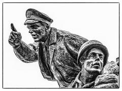 DDay Memorial (Andy J Newman) Tags: france utah normandy american us dday utahbeach beach silverefex statue landings olympus memorial blackandwhite monochrome om saintemariedumont normandie fr
