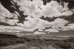 Ghost Town Valley (CameraOne) Tags: bodie statepark ghosttown raw sepia monochrome blackandwhite clouds sky polarizer wideangle cameraone outdoor valley owensvalley ruins urbandecay canon6d canonef1740mm chruch buildings town california wood highdesert southwest