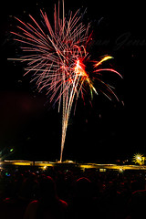 Palisades Rocks the 4th 2018 (morgan@morgangenser.com) Tags: fireworks pacificpalisades bright colorful colors oohahhs excitiing palisadeshighschool lightup night sky explosions explode gunpower chemicals red yellow green blueorange crowds santamonicacollege footballfield flags beach sand bicycles children population parade music dogs