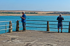 Anglers (Geoff Henson) Tags: anglers angling fishing men people rods lines tackle pier jetty sea ocean water beach fields buildings sky railings