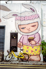 Feed your OFO bike little rabit (waex99) Tags: 200iso 2018 35mmf2asphii colorplus epson june kodak leica m6 singapore summicron roll30 v800 mural bunny rabit lapin peranakan color couleur ofo bike rental street art