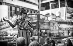 Above the Crowd (ROSS HONG KONG) Tags: crowd crowded timessquare woman standing above street streetphoto black white bw blackandwhite leica monochrom monochrome noir blanc nyc newyork manhattan