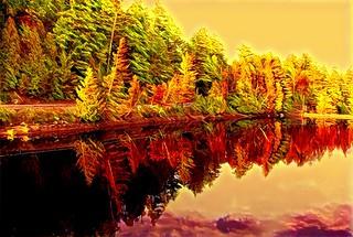 Lake Placid New York  ~ Ausable River at Franklin Road Bridge - Autumn  Reflection