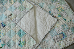 Winter Quilt (balu51) Tags: patchwork quilting sewing quilt stashsewing squares textprints lowvolume winterquilt white black blue teal juni 2018 copyrightbybalu51