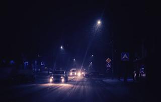 Cars on a snowy street