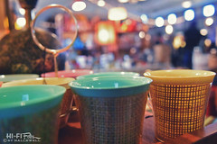 mug caddy (Hi-Fi Fotos) Tags: retro vintage kitsch mugs cups bamboo plastic wicker thermal set collectible bokeh nikon d7200 dx hififotos hallewell