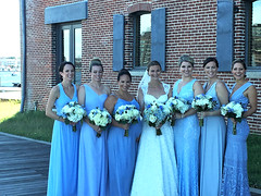 pre-ceremony posing (karma (Karen)) Tags: baltimore maryland fellspoint wedding fdimmaritimepark bride bridesmaids gowns flowers cmwd