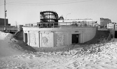 Coney Island - Winter 1999? (neilsonabeel) Tags: film analogue blackandwhite coneyisland newyorkcity brooklyn boardwalk rollercoaster abandoned winter snow beach sand