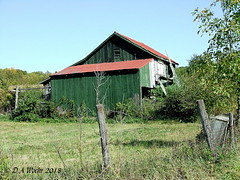 Green Barn With Red Roof (Picsnapper1212) Tags: barn farm agriculture scene fence clintoncounty ohio september 2007