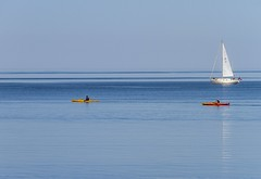 Kayaks & Sailboat (Karen_Chappell) Tags: kayak sailboat boat blue red yellow ocean bay nfld newfoundland white conceptionbay holyrood canada atlanticcanada atlantic seascape avalonpeninsula eastcoast people sail sailing sea scenery scenic