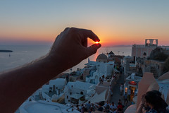 Don't Let The Sun Go Down On ME (sdupimages) Tags: sunshine hand perspective fun funny santorini sun sunset sea seascape landscape mer ciel light