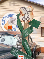 misdirections (bugeyed_G) Tags: seligman arizona tourism signs vintage historic southwest classic car roadside americana 50s fifties route66