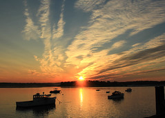 The sky and the dawn and the sun (Patricia McAtee - Photos of Maine) Tags: sky sun sunrise clouds dawn boats scarbough maine reflection morning golden