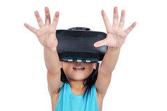 Asian little Chinese girl experiencing virtual reality via VR goggles - Credit to https://www.lyncconf.com/ (nodstrum) Tags: technology tech game gaming virtualreality reality augmentedreality oculusrift oculus future headset industry immersive