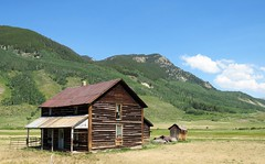 Cold Spring Ranch (Patricia Henschen) Tags: crestedbutte colorado mountains mountain ranch coldspring house privy log brushcreek road roadside clouds abandoned building rural countryside aspen