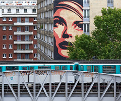 Street Art et Métro Ligne 6 (Julianoz Photographies) Tags: paris france europe architecture métro subway transportencommun streetart streetartparis nikon nikonfr pont bridge city ville capitale capital dessin fresque paris13 13emearrondissement julianozphotographies graffiti