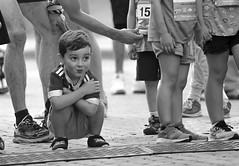 Ready to Run (Scott M. Mohn) Tags: streetphotography face expression candid blackandwhite young children people kids event race minnesota sonyilca77m2 cute boy excited eyes outdoors celebration minneapolis