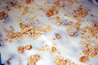 Frosted Apple Cake With Walnuts.