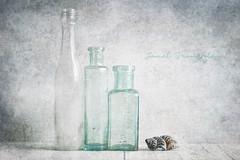 The Blue Sea Shell (Janet_Broughton) Tags: lensbaby velvet85 stilllife shell seashell blue bottles
