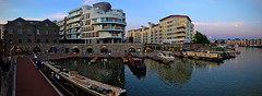 Harbour Life (Andrew Gustar) Tags: bristol harbourside dusk harbour bars panorama moon lights