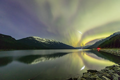 Shooting through the Aurora (Chuck - PhotosbyMCH.com) Tags: photosbymch landscape nightscape shootingstar meteor auroraborealis northernlights reflection mooselake mountoverland britishcolumbia canada canadianrockies rockymountains 2017 canon 5dmkiv stars canadianpacificrailway night nightsky astrophotography longexposure mountains snow lake rocks surreal spring