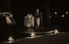 Nightcap? (Coisroux) Tags: tsala nightcap blackandwhite darkness candles flicker shadows night d5500 nikond nikond5500 calming monochrome glasses romance memories bokeh