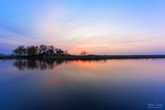 Sunset Mood (Johan Konz) Tags: sunset dusk blue sky water watercourse canal waterscape landscape outdoor tree house building nikon d7500 markervaart provincialeweg n246 dewoude stierop netherlands serene longexposure reflection