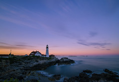 Maine's Lighthouses #4: Portland (Rabican7) Tags: maine portland lighthouse sea ocean longexposure sunset colorful colors sky waves water structure architecture headlight seascape rocky shore tokina wideangle nikon photography yextmaine