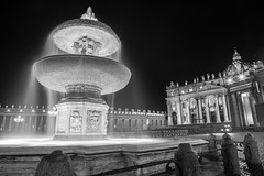 the heart of catholicism (nzfisher) Tags: vatican rome roma italy 24mm canon water fountain longexposure blackandwhite monochrome mono motion architecture building travel holiday church basilica fontana relief