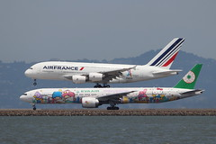 Airbus A380 and Boeing 777 (photo101) Tags: sfo airfrance evaair sanrio airport travel