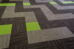 Wainuiomata Library's New Carpet Tile Installation (Aaron & Radhika) Tags: library community interior design floor carpet tile textile nikon d3100 newzealand layout tukutuku panel poutama cultural maori wellington centre raw photoshop post processed photoshopcc balsan origami lime green belgotex equinox grey lower hutt