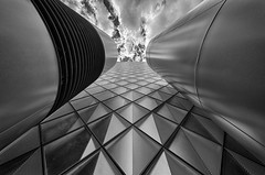 futuristic (Leipzig_trifft_Wien) Tags: berlin deutschland de architecture modern contemporary glass facade building black white bnw symmetrical geometry structure pattern grey blackandwhite contrast city urban