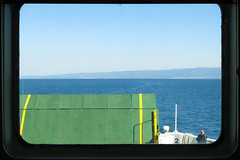 Moving pictures (LukaBoban) Tags: boat maritime window dirty dirt sea salt blue sky ferry green local cropped croatia dalmatia canon powershot g15