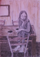 Like A Vison Form The Past... (kaeuflin) Tags: girl sad past lost alone table sitting bare barefoot gray drawing child