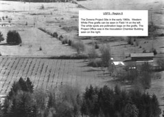 c.1962. The Dorena Project Site in the early 1960s. Western white pine grafts can be seen in Field 14 on the left. The white spots are pollination bags on the grafts. The Project Office was in the Inoculation Chamber Building seen on the right. (USDA Forest Service) Tags: usda usfs forestservice stateandprivateforestry foresthealthprotection region6 r6 dorena dorenageneticresourcecenter forestdisease forestpathogen resistance breeding exoticpathogen nursery treedisease treepathogen diseaseresistance dorenatreeimprovementcenter inoculationchamber dorenaproject westernwhitepine graft field14 geraldbarnes richardsniezko pollinationbag building c1962 aerialphoto oblique aerialphotography