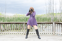 Wildlife Photographer (marylee.agnew) Tags: self photographer wildlife woman dress boots red hair nature person outdoor portrait