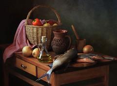 Still life with fish and vegetables (Tatyana Skorokhod) Tags: stilllife fish vegetables decor onion pepper