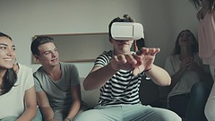Friends with VR headset exploring virtual reality- Credit to https://www.lyncconf.com/ (nodstrum) Tags: technology tech game gaming virtualreality reality augmentedreality oculusrift oculus future headset industry immersive