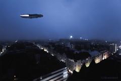 Vol de Nuit (Avanaut) Tags: helsinki scalemodel miniature starwars millenniumfalcon toy toyphotography finemolds night sky avanaut torni