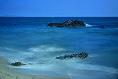 in the pursuit of happiness - sea and serenity.jpg (remiklitsch) Tags: sun sand sky serenity beach ocean blue pacific malibu maliburoad mymalibutimes july4 happiness nikon remiklitsch sea rock longexposure azule bay california afternoon