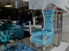 The Blues (navejo) Tags: montreal quebec canada window shop furniture blue chair godawful