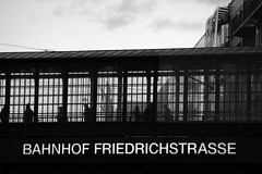 Bahnhoffing (Elios.k) Tags: horizontal outdoors people many crowd commuters trainstation transportation bridge passage pedestrians bahnhof friedrichstrasse shadow figures silhouette building architecture blackandwhite bw monochrome travel travelling october2017 canon 5dmkii photography berlin germany deutschland europe