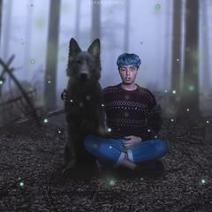"""Strangeways, here we come"" (Serafin Green) Tags: wolf selfportrait surrealismo surrelism fantasy forest fotografia black blackbeauty blue blueboy bluehair portrait retrato autoretrato green"