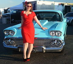 Holly_9252 (Fast an' Bulbous) Tags: classic american car chevy chevrolet vehicle automobile girl woman hot sexy pinup model people outdoor red wiggle dress stockings nylons high heels beauty wife