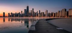 Chicago skyline in winter (reinaroundtheglobe) Tags: chicago illinois urbanskyline skyline usa lakemichigan winter ice frozenwater nopeople sunrise skyscrapers chicagoskyline offices buildings architecture urbanlandscape